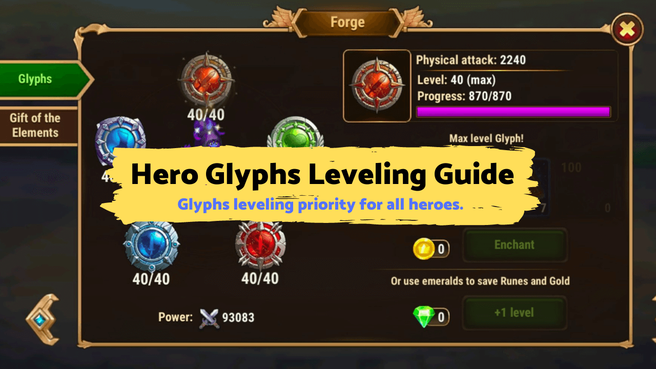 Hero Wars Mobile - Hero Glyphs Leveling Guide